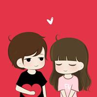 一組適合小情侶的可愛卡通情侶頭像
