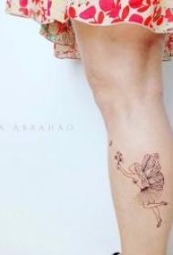 纹身图小清新女 黑色的简约线条纹身图小清新图片