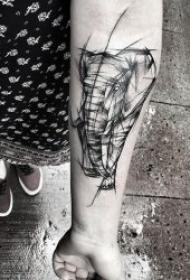黑灰线条纹身 10款黑灰点线线条的纹身动物图案