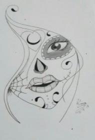 黑灰線條紋身手稿 鉛筆素描紋身風格的黑灰線條紋身圖片
