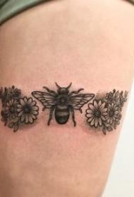 小蜜蜂紋身圖案 多款各風格的動物小蜜蜂紋身圖案