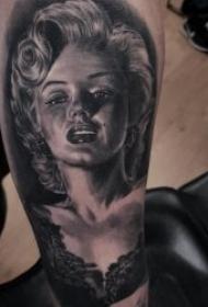 紋身人物圖片  神采奕奕的人物肖像素描寫實紋身圖案