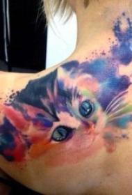 纹身 猫图案   独立而又高冷的猫咪纹身图案