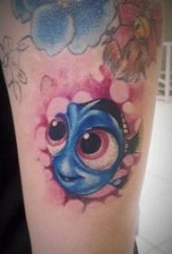 彩色手臂纹身图案 彩色纹身动物与植物的手臂纹身图案