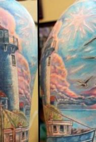 燈塔紋身   9組象征著溫暖與光明的燈塔紋身圖案