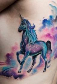 独角兽纹身  梦幻而又少女心十足的独角兽纹身图案