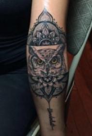 纹身猫头鹰   宛如黑夜精灵的猫头鹰纹身图案