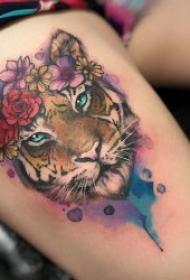 水彩泼墨纹身图片   水彩与线条交融的彩色泼墨纹身图案