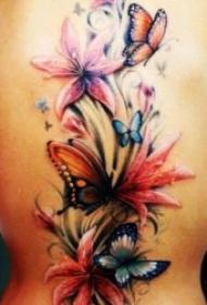 蝴蝶纹身图案 10款多彩多姿的彩绘纹身花朵和蝴蝶纹身图案