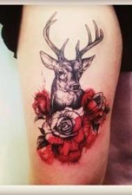 小鹿紋身圖案  漂亮溫順的小鹿紋身圖案