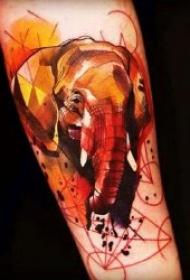 小象纹身  9组温和而又憨厚的小象纹身图案