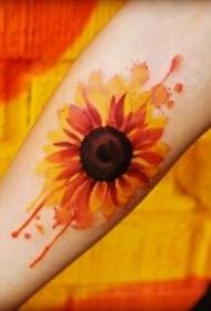 向日葵纹身图案 8款彩绘纹身植物的向日葵纹身图案