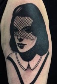 纹身图人物图片   个性而又不失时尚感的黑灰人物纹身图案