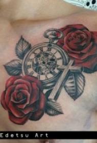 花朵纹身图案 身体各部位彩绘纹身和黑灰纹身植物花朵纹身图案