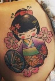 9张可爱而又乖巧的日本木偶娃娃纹身图案