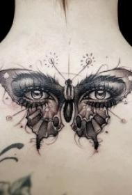 紋身蝴蝶女   翩翩起舞的蝴蝶紋身圖案