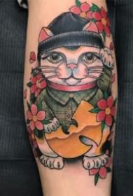 卡哇伊的9张彩色卡通招财猫纹身图案