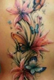 彩色花朵纹身图案 唯美精致的一组彩色花朵纹身图案