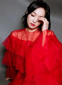 宋茜红色礼服妖艳魅力写真手机壁纸