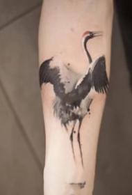 仙鹤纹身 9张水墨中国风的仙鹤纹身图片