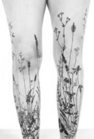 水墨植物圖片 水墨風格的一組黑灰植物紋身圖片