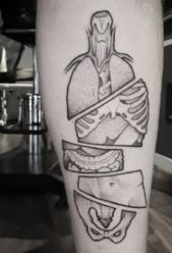 骨骼纹身 最适合医学生纹的一组人体构造骨骼纹身图片