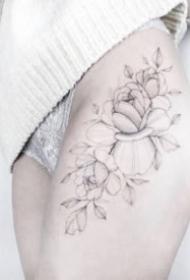 女生素花紋身 適合女孩子的小清新花朵線條紋身圖案