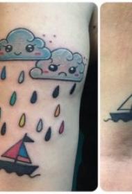 云朵紋身圖片  輕盈飄浮的云朵紋身圖案