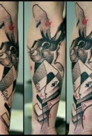 可爱兔子纹身  温顺乖巧的可爱兔子纹身图案