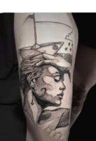 來自法國藝術家的創意人物點線設計紋身圖案