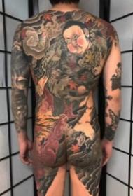 通体纹身 传统风格的9张满背通体纹