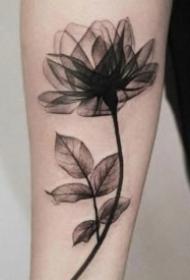 水墨花紋身 漂亮唯美的一組女生水墨風花朵紋身圖片