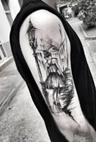 黑灰手臂點線紋身 別有一番風味的手臂點線黑灰紋身圖片