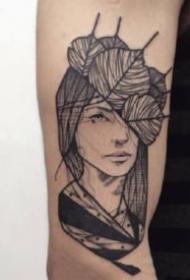 女郎紋身線圖 黑灰色的9張女郎紋身線圖作品