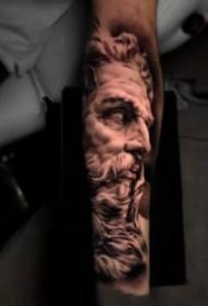 手臂上的一組黑灰色的寫實紋身作品