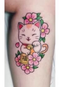 紋身招財貓圖案 9款可愛的招財貓主題紋身圖案
