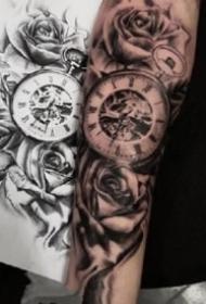 小臂鐘表紋身 18款歐美風格包臂鐘表紋身圖案