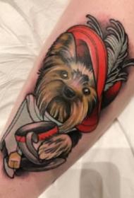 school动物纹身  newschool风格的狗等写实动物图片