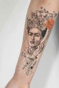 纹身点线图 很有设计感的一组小臂点刺线条设计纹身图案