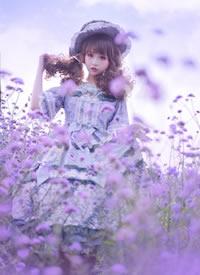 一组cos在紫色花田美丽萝莉图片欣赏