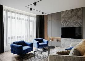 高級灰+紳士藍,內斂中締造高雅格調的公寓