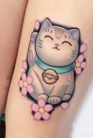 可爱的一组招财猫刺青纹身图片