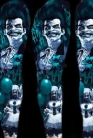 夢幻藍色調的一組炫彩寫實紋身圖片