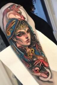 重彩色的一组9张包臂女郎人物纹身