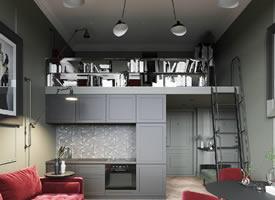 超精致的北欧loft小公寓 - 红绿色系的经典搭配 