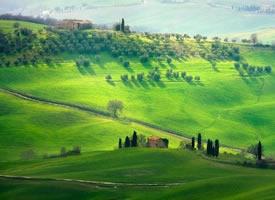 意大利托斯卡纳,挂在画布上的风景