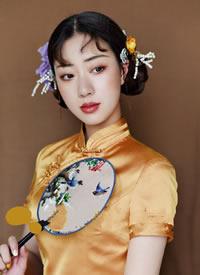 一组娴静温婉的旗袍新娘发型
