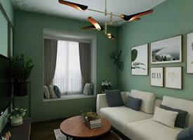 61㎡小户型公寓,抹茶色+北欧风+轻奢质感