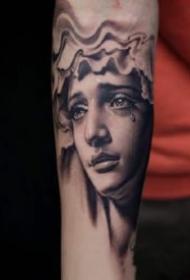 很逼真的一組素描寫實人像紋身圖案
