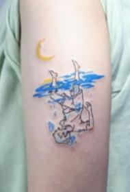 一組憂郁藍色的抽象小紋身圖片